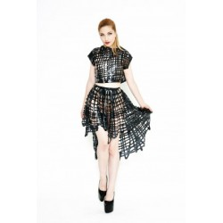 Net Latex Dip Hem Circle Skirt