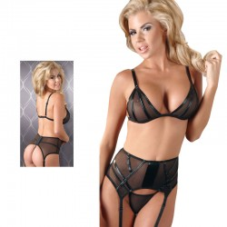 Black Power Net Bra, Suspender Belt And GString Set